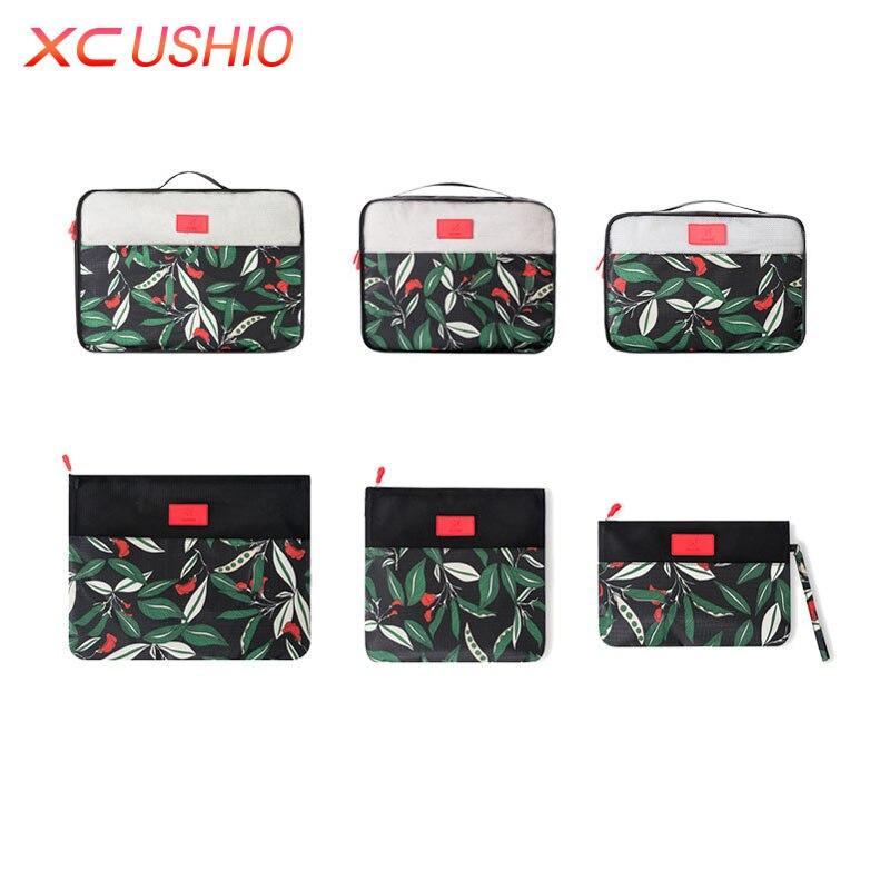 6pcs / set Floral Corak Travel Storage Bag Set Luggage Luggage - Organisasi dan penyimpanan di dalam rumah - Foto 6