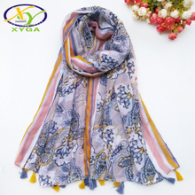 1PC Cotton Women Long Scarf Tassels 2019 Spring New Thin Summer Ladys Viscose With Golden Line Shawls Female Autumn Wraps