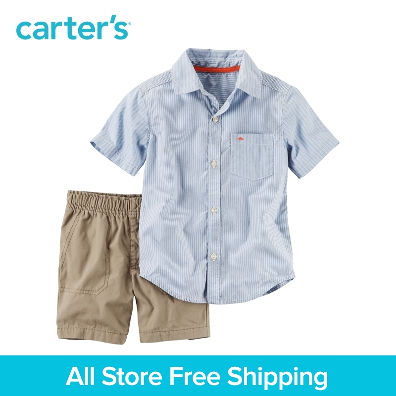 Carter's 2pcs baby children kids Striped Button-Front & Canvas Short Set 249G430,sold by Carter's China official store carter s 1 pcs baby children kids long sleeve embroidered lace tee 253g688 sold by carter s china official store