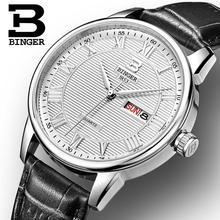 Suisse montres hommes marque de luxe Montres BINGER ultra-mince montre À Quartz bracelet en cuir Date Automatique Étanche B3037-1