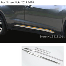 Car Styling Cover Stainless Steel Side Door Body Trim Frame Stick Strip Stream Molding 4pcs For Nissan Kicks 2017 2018 2019 for nissan x trail t31 2007 2013 car accessories stainless steel car body scuff strip side door molding streamer cover trim 4pcs