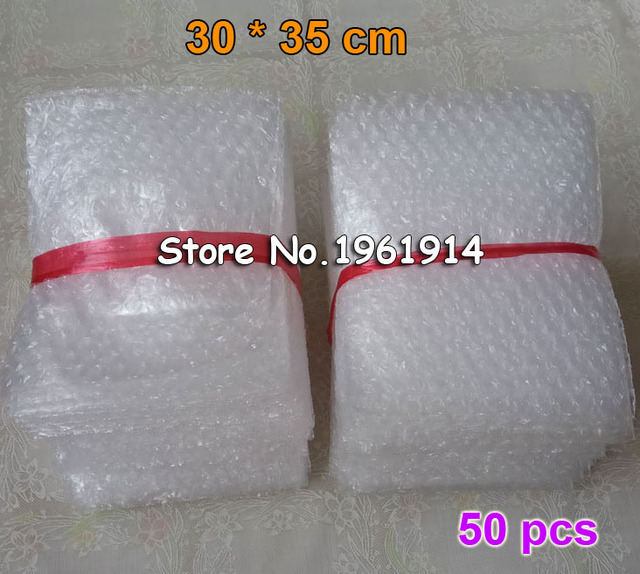 50pcs New White Bubble Bags 30*35cm Transparent Paded Envelopes Wrap air Bags Pouches packaging PE Mailer Packing air