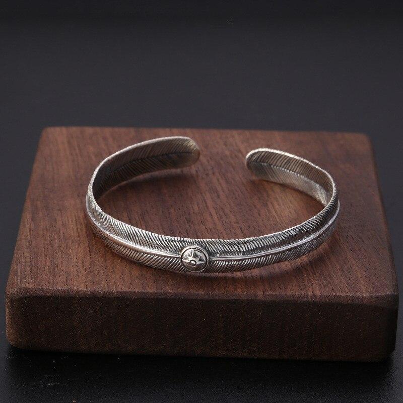 Vintage indien tribu fait à la main en argent Sterling plume Bracelet de manchette pour hommes Antique Thai argent Cool personnalité bijoux cadeaux