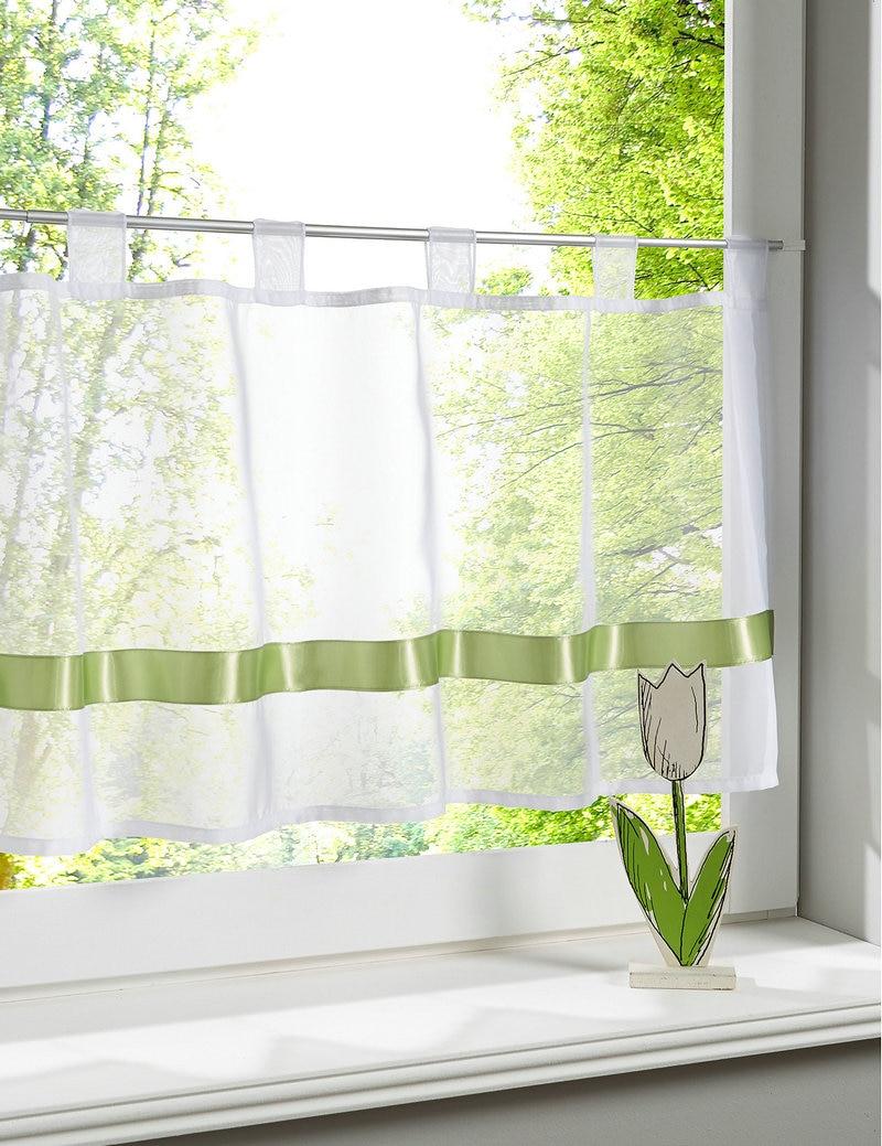1Piece Tab Top Ribbin Stitching Sheer Kitchen Window Curtain