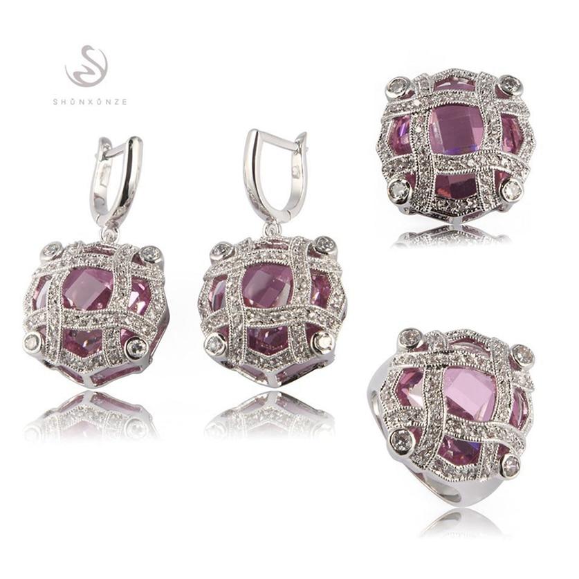 Fleure Esme rose violet cubique zircone femmes ensembles de bijoux de mariage pour femmes accessoires (anneau/boucle d'oreille/pendentif) R513set R516set