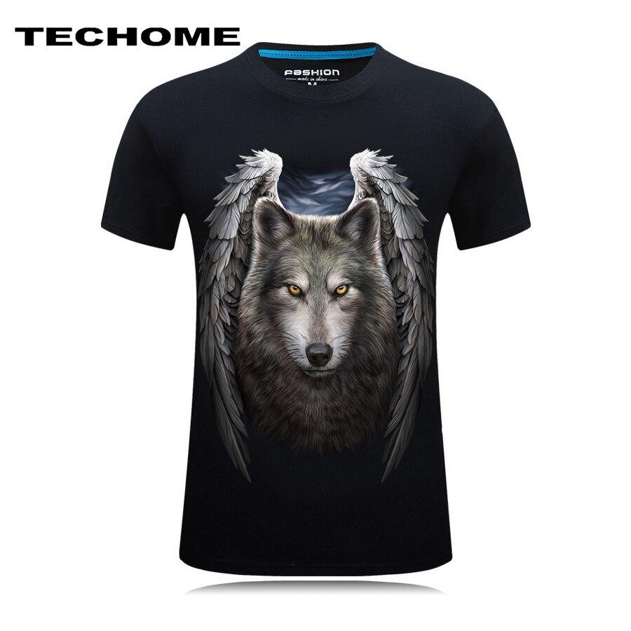Summer 3D Printed Mens T Shirts Short Sleeve Skull Wolf Fashion Casual O Neck Men 3D Shirt Brand Clothing Plus Size 5XL 6XL