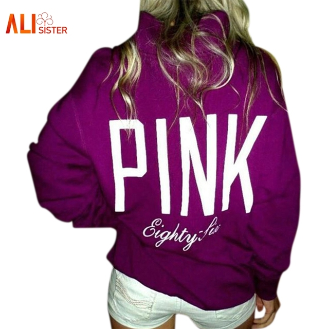 Letter Pink Hoodies Casual Women Long Sleeve Round Neck Hoodies Sweatshirt Women's American Apparel Fashion Purple Tops