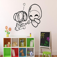 Wall E And Eve Wall Decal Cartoons Robots Vinyl Sticker Home Decor Ideas Interior Removable Kids
