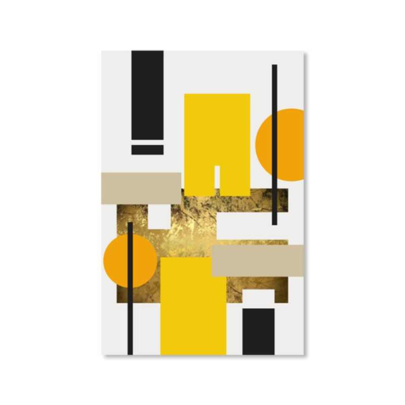 Modern Nordic Decoration Home Canvas Painting Geometric Yellow Abstract Wall Art Pictures for Living Room Decorative Poster