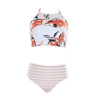 High Neck Swimwear Vintage Bikini Women Print High Waist Swimsuit Female Halter Bandage Bikini Set Retro
