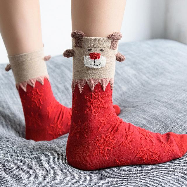 Women Sock Winter Warm Christmas Gifts Stereo Socks Soft Cotton Cute Santa Claus Deer Socks Xmas Christmas socks S01