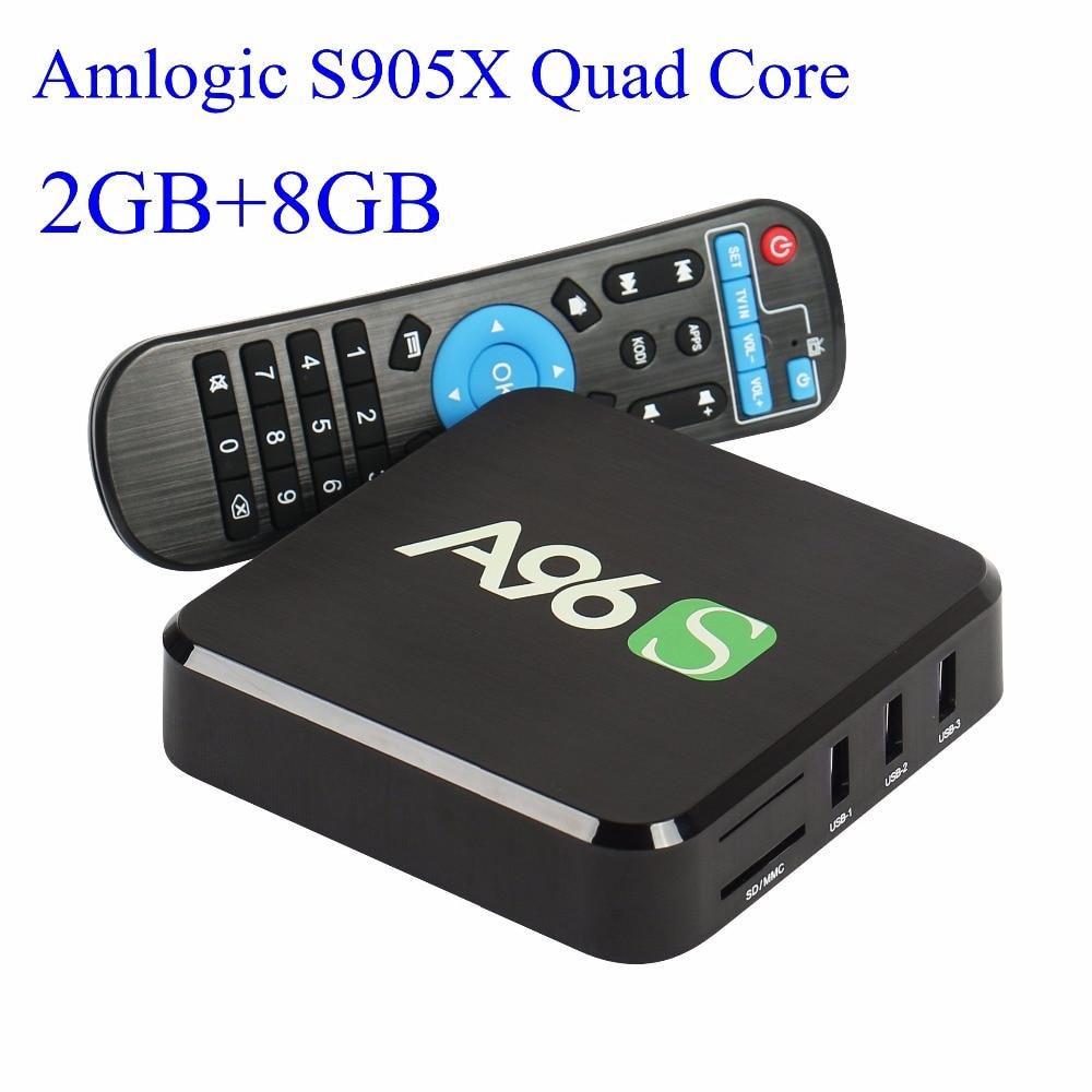 Prix pour 2016 Nouveau A96S Android TV Box Amlogic S905X Quad Core Android 6.0 2 GB + 8 GB HDMI 2.0 WIFI 4 K 1080i/p addons Entièrement chargé ajouter-ons