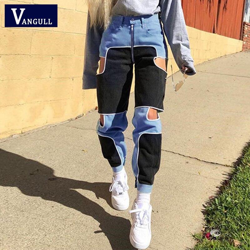 Vangull Harajuku Hip Hop Cargo Pants Women Hollow Out High Waist Trousers Streetwear Patchwork Sweatpants Ladies Joggers 2019