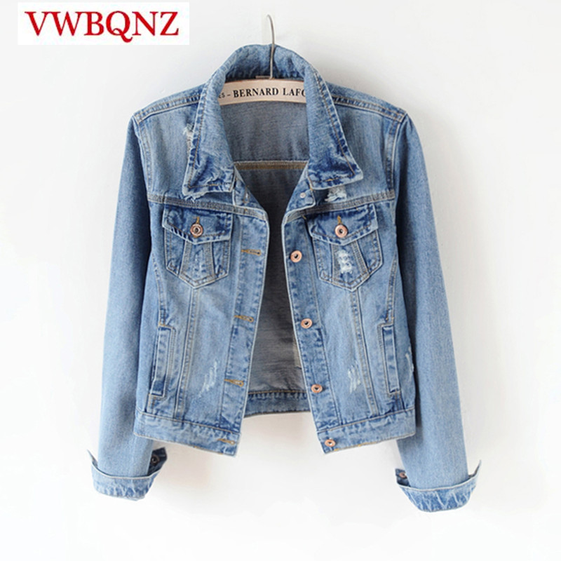 Single-breasted Women Jeans   Jacket   Spring Autumn Slim Vintage Female Denim   Basic     Jacket   Plus size 4XL 5XL Casual Denim Outerwear