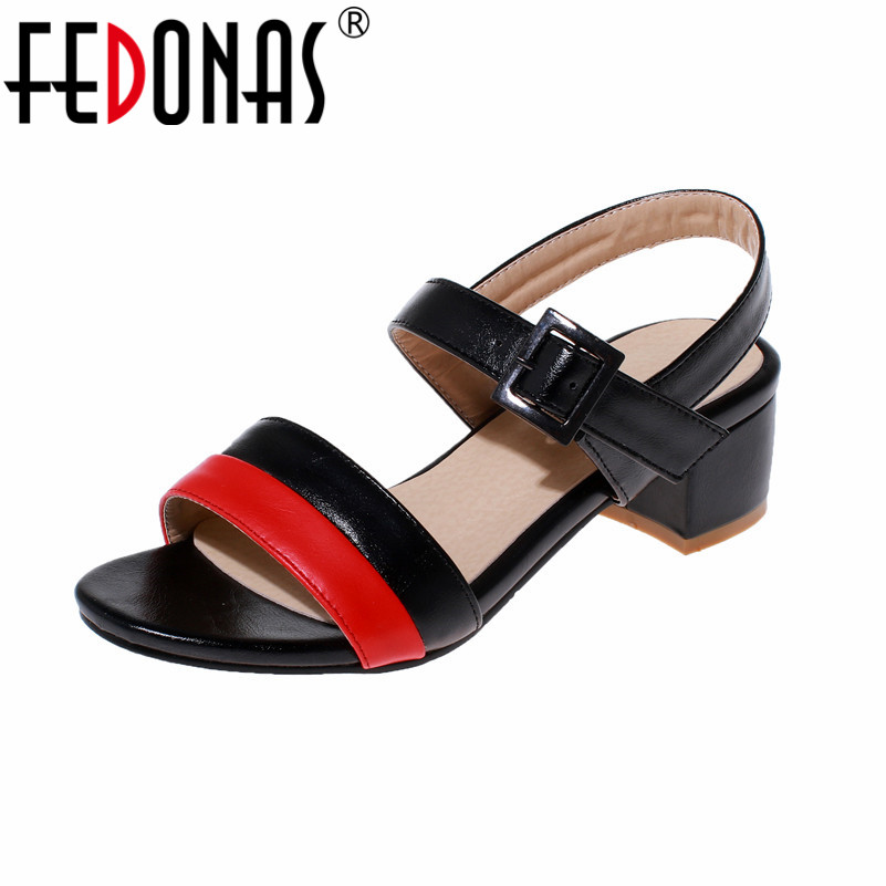 FEDONAS Fashion Women Gladiator Sandals Casual Summer Shoes Ladies Female Open Toe Thick High Heels Shoes Woman Sandal women sandals shoes 2017 summer shoes woman gladiator wedges cool fashion rivet platform female ladies casual shoes open toe