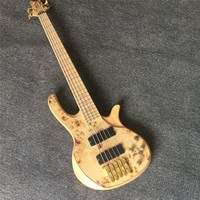 NEW Top quality log color Burl pattern butterfly 5 strings electric bass guitar with abalone beautiful neck,Free shipping
