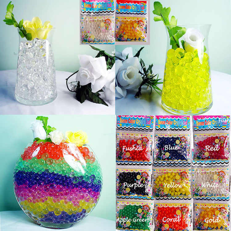 100pcs/bag Sky blue Crystal Soil Hydrogel Gel Polymer Water Beads Flower/Wedding/Decoration Growing Water Balls Big bonsai Home