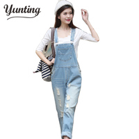 Free Shipping New Womens Casual Washed Jeans Denim Jumpsuit Romper Pencil Pants Light Blue Overalls S