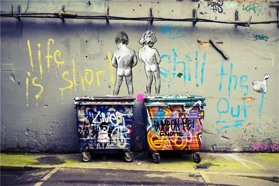 Banksy Graffiti Toile Peinture Salon Décor À La Maison Moderne Art Mural Peinture À L'huile