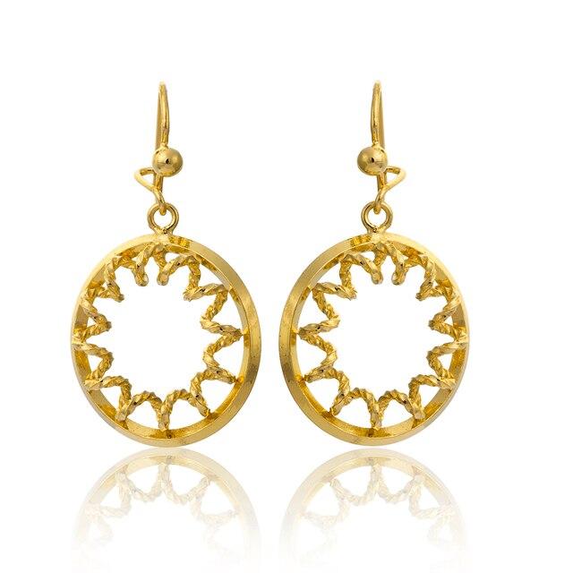 Gold Color Circle Engraved Spring Leverback Hoop Earrings Fashion Jewelry Vintage Women Earings Personalised