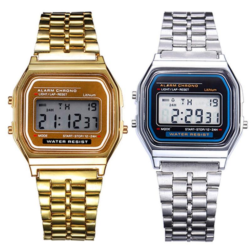 New Stylish Women's Watches Steel Watchband Analog Electronic LED Digital Clock Lady Wrist Watch Reloj Mujer Relogio Feminino