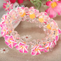 1pc/lot Handmade Beautiful Polymer Clay Fimo Frangipani Plumeria Flower Bracelet For Girls Women Holiday Jewelry Accessories