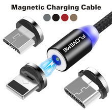 FDBRO LED Magnetic Charger Cable Micro USB Type C USB-C 2m 2A Short Usb Charging Cables Magnet Round Plug Designs
