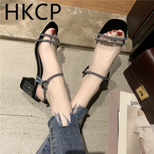 HKCP Sandals for summer 2019 new Korean version joker rhinestone belt with chunky Roman shoes fairy high heels C269