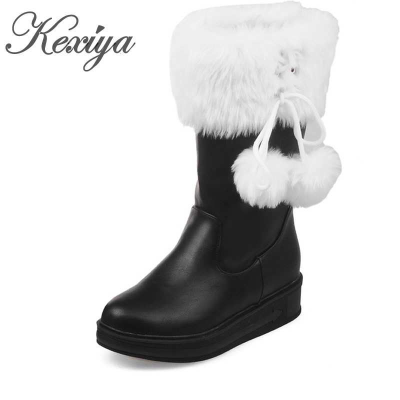 цены на 2016 Warm winter women snow boots fashion Round Toe low heel shoes Big size 30-52 solid PU ladies Slip-On Mid-Calf boots