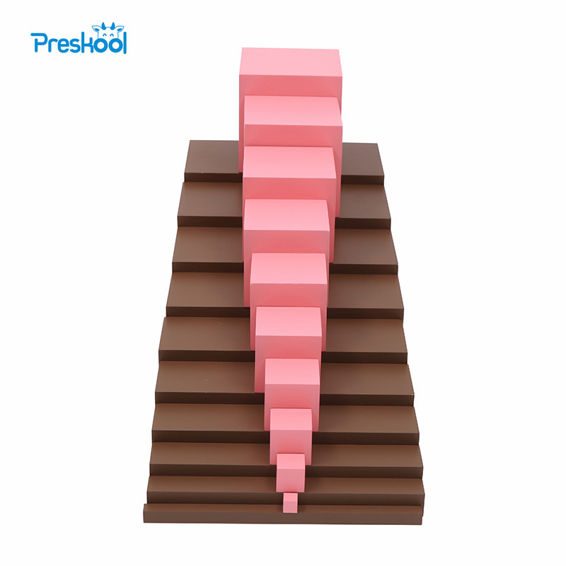 Montessori Brown Stairs and Pink tower Baby Toy Early Childhood Education Preschool Kids Brinquedos Juguetes 126 page sanmao joins the army baby and kids early education story book with pin yin and pictures