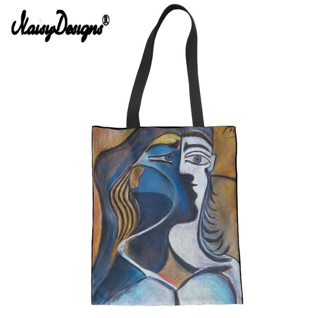 Picasso Master Painting Ladies Canvas Tote Bag Shoulder Shopper Hand Bag Purse For Women Travel Beach Colorful Shopping Handbags