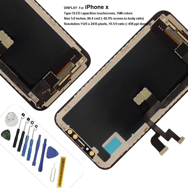Pour iphone x Lcd affichage 3D écran tactile assemblage avec verre trempé et outils de remplacement tianma tft