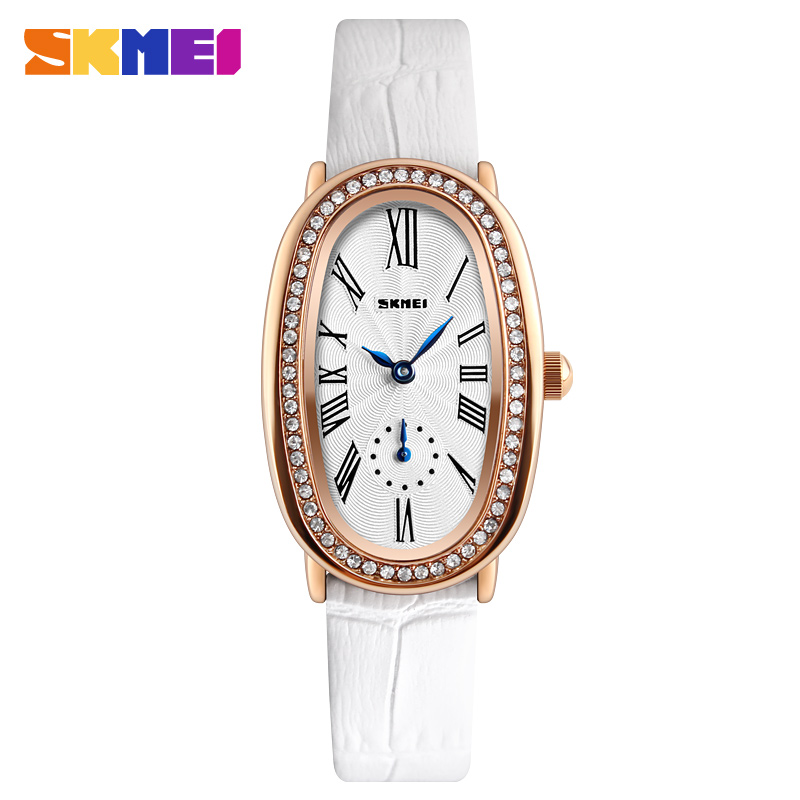 SKMEI Ladies Watches 2018 Brand Luxury Leather Quartz Wrist Watches For Women Fashion Watch Women Relogio Feminino Montre Femme mycolen mens loafers genuine leather italian luxury crocodile pattern autumn shoes men slip on casual business shoes for male