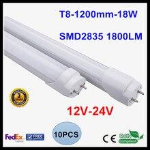 12 V 24 V T8 1.2 M 4FT הוביל צינור אור 18 W מנורת LED אור 2835SMD לבן קר תאורה/לבן חם הוביל נורת ניאון