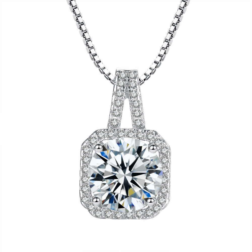 Brilliant 6MM Round Cut CZ Pendant 925 Silver Bridal Jewelry Ladies Gift