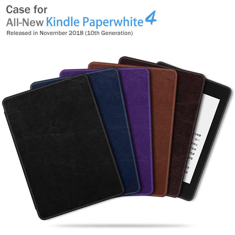 BOZHUORUI Magnetic Smart cover case for New kindle paperwhite 4 E-books 10th Generation 2018 Release Ultrathin PU Leather Cover