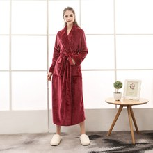 Autumn Winter Couples Flannel Robe Women Men Thick Warm Bathrobe Sleepwear Lovers Plus Size Homewear