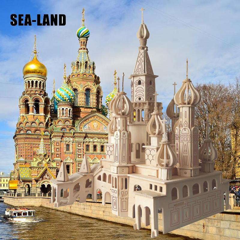 Kids Toy Of 3D Wooden Puzzle For Children And Adult St Petersburg Church Montessori Educationaly Diy Toy A Good Gift For Family in Puzzles from Toys Hobbies