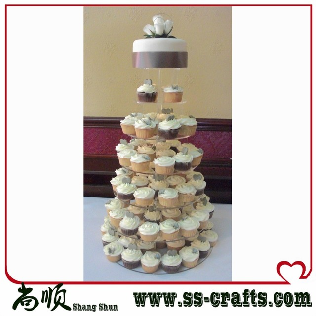 Free Shipping 7 Tier DIY Acrylic Wedding Cake Stand Organic Glass Cup Exhibition