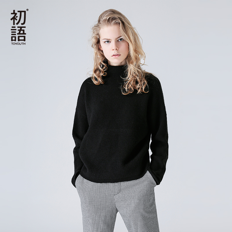Toyouth Knitting Pullover Turtleneck Sweater Women Outerwear Jumper Long Sleeve Sweater Autumn Winter pull femme Casual Sweaters