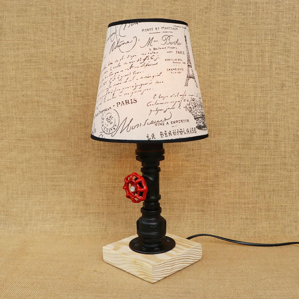 где купить Vintage design retro black bedside steam punk fabric lampshade table lamp e27 lights for bedroom workroom workshop office по лучшей цене