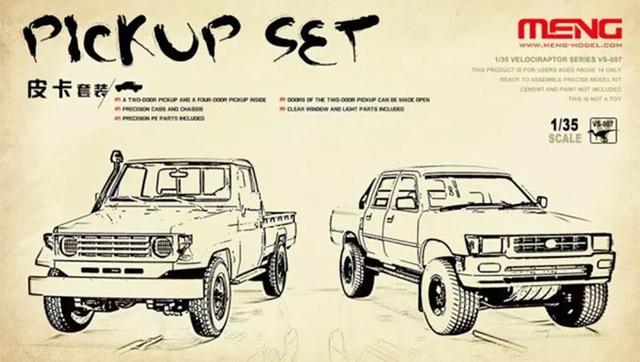 Meng 1:35 Pick Up Truck Set (1 two-door & 1 quatro-portas) Kit Modelo de Plástico # VS007