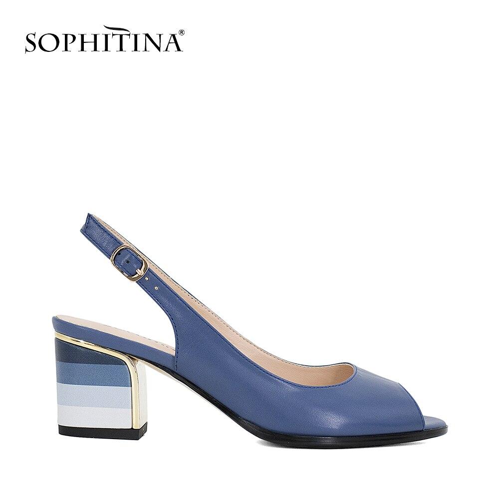 SOPHITINA Sandales Bleu À La Main En Cuir Véritable Sexy Lady Peep Toe Sandales Talon Carré Boucle Sangle Classiques Chaussures Femme S22