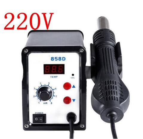 858D 220V 700W ESD Soldering Station LED Digital SMD Solder Blowser Hot Air Gun Digital Desoldering Station Iron Welding Tool 700w hot air gun desoldering soldering station led digital solder iron desoldering station 858d electric soldering iron uk
