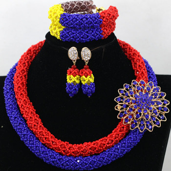 Splendid Orange Red African Beads Statement Necklace Sets Handmade Women Birthday Celebration Gift Jewelry Set Free Ship QW625