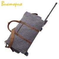 CHARA'S сумка бренд воловья кожа + холщовые дорожные сумки для мужчин/женщин багаж тяга колеса вещевой мешок носить на висячем чемодане