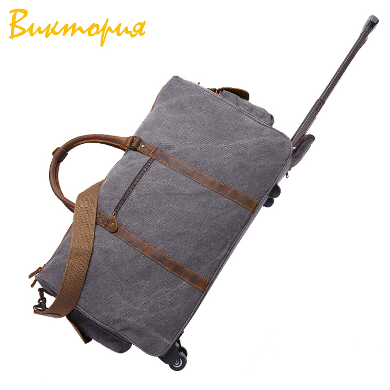 CHARAS BAG brand Genuine Leather+canvas Travel Bags men/women Luggage Pull rod Wheel Duffel Bag Carry on Hanging SuitcaseCHARAS BAG brand Genuine Leather+canvas Travel Bags men/women Luggage Pull rod Wheel Duffel Bag Carry on Hanging Suitcase