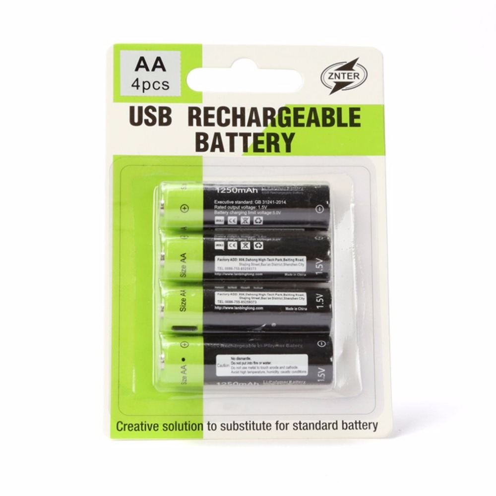ZNTER 1.5V 1250mAh USB AA Rechargeable Battery Quick Charging Rechargeable Polymer Battery Charged By Micro USB Cable Dropship