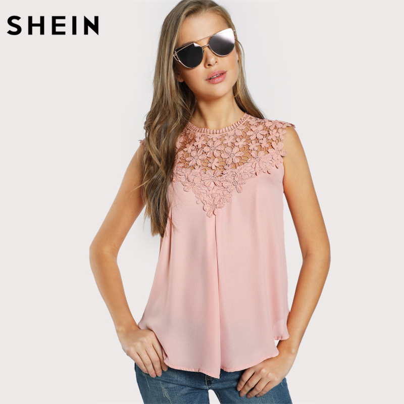 SHEIN Ladies Keyhole Back Daisy Lace Shoulder Shell Top Women Blouses Summer 2017 Pink Round Neck Sleeveless Blouse