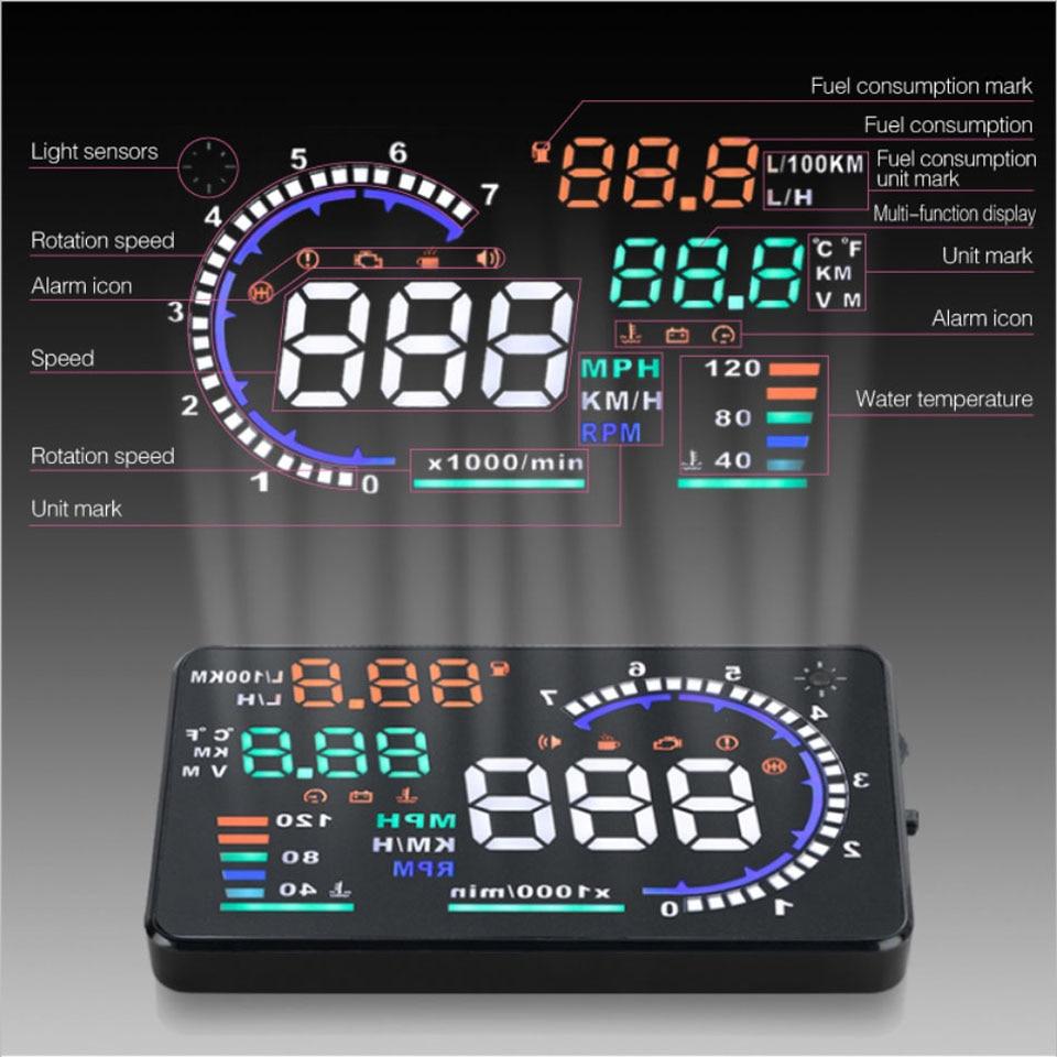 Aliexpress com buy vjoycar a8 5 5 hud car head up display led windscreen projector car obd2 speed warning fuel consumption driving data diagnosis from